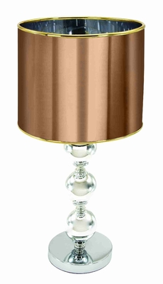 "Set/2 Table Lamps Contempo With Bronze Shade 20"" Brand Woodland"