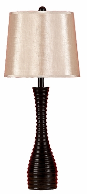 "Set/2 Tall Black N Gold Table Lamp 29"" With Shade Brand Woodland"