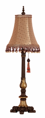 "Tall Sleek Espresso Table Lamp 33"" With Shade Brand Woodland"