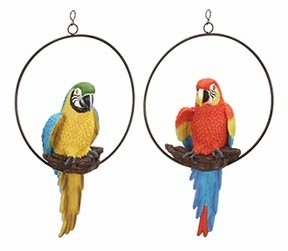 Set/2 Tropical Parrots In Rings Garden Statue Sculpture Brand Woodland