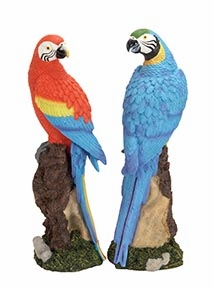 Set/2 Tropical Parrots On Stump Garden Statue Sculpture Brand Woodland