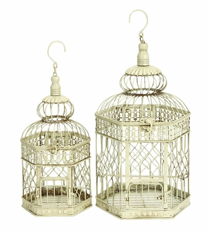 "Set/2 White Metal Hexagon Parakeet Birds Cages 21"" Brand Woodland"