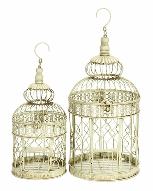 "Set/2 White Metal Round Parakeet Birds Cages 22"" Brand Woodland"