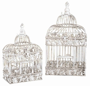 "Set/2 White Metal Square Parakeet Birds Cages 21.5"" Brand Woodland"