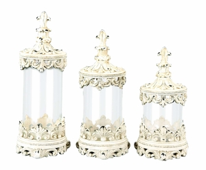 Set/3 Antiqued White Clear Glass Canister Jar With Lids Brand Woodland