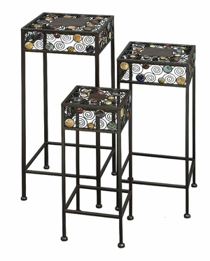 Set/3 Ceramic Metal Square Outdoor Patio Plant Stand Brand Woodland