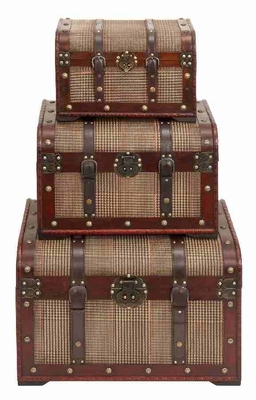 Set/3 Cheshire Leather N Wood Storage Trunks Brand Woodland