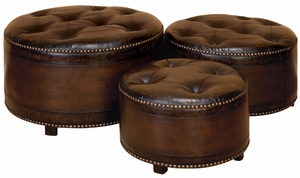 Set/3 Dark Brown Round Leather Ottoman Footstools Brand Woodland