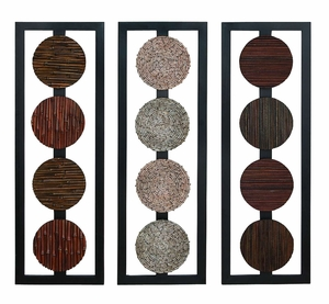 "Set/3 Designer Wood Decor Wall Decor Sculpture 35""x12"" Brand Woodland"