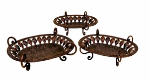 Set/3 Domboi Metal Zali Work Serving Tray Set Brand Woodland