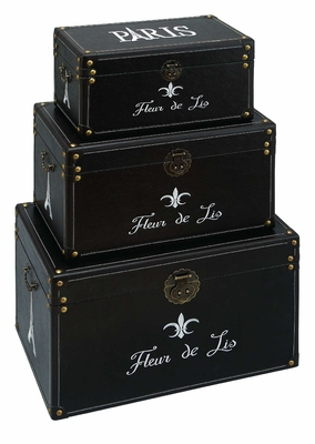 Set/3 Fleur Di Lis Black Leather N Wood Storage Trunks Brand Woodland