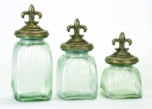 Set/3 Fleur Di Lis Clear Glass Canister Jar With Lids Brand Woodland
