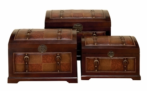 Set/3 Monarch Brown Leather N Wood Chest Trunks Brand Woodland
