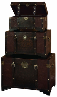 Set/3 Old Time Classic Leather N Wood Chest Trunk Brand Woodland