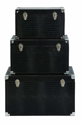 Set/3 Swiss Black Leather N Wood Storage Trunks Brand Woodland