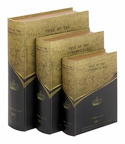 Set /3 Tess of Urbervilles Leather Faux Book Boxes Set Brand Woodland