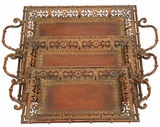 Set/3 Turkish Metal Serving Tray Set Brand Woodland