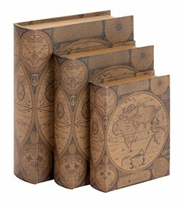 Set /3 World Map Leather Faux Book Boxes Set Brand Woodland