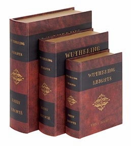 Set /3 Wuthering Heights Leather Faux Book Boxes Set Brand Woodland