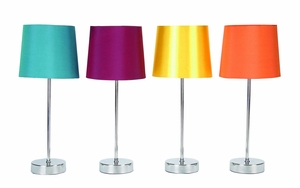 "Set/4 Metal Table Lamps With Colorful Shades 16"" Brand Woodland"