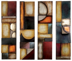 Set / 4 Multicolor Metal Wall Decor Sculpture, Abstract Wall Art Brand Woodland