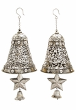 """Set of 2 Christmas Spirit Metal Silver Bell Assorted 9""""W, 23""""H by Woodland Import"""