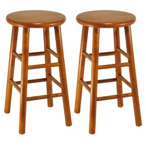 "Set of 2 Fascinating Customary Styled Beveled 24"" Seat Stool by Winsome Woods"