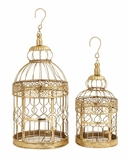"""Set of 2 Metal Golden Bird Cages S/2 20"""", 16""""H by Woodland Import"""