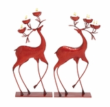 """Set of 2 Metal Red Deer w/ Antler Candle Holders S/2 27"""", 25""""H by Woodland Import"""