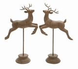 Set of 2 Polyresin Jumping Deer Decor Item Assorted Brown by Woodland Import