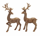 "Set of 2 Polystone Reindeer Friends w/ Large Antlers S/2 20""W, 31""H by Woodland Import"