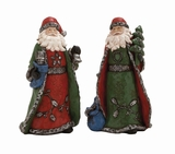 "Set of 2 Polystone Santa Clause Bearing Gifts Assorted 8""W, 13""H by Woodland Import"