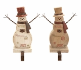 """Set of 2 Polystone Snowman Hangers Assorted 10""""H,7""""W by Woodland Import"""