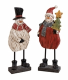 """Set of 2 Polystone Snowman in White & Red Assorted 18""""H, 6""""W (Medium) by Woodland Import"""