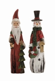"Set of 2 Polystone Snowman & Santa Clause Assorted 3""W, 12""H by Woodland Import"