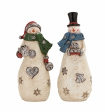 """Set of 2 Polystone Snowman w/ Presents Assorted 4""""W, 11""""H by Woodland Import"""