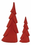 "Set of 2 Red Wood Xmas Trees w/ Star Designs 36"", 24"" H by Woodland Import"