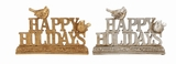 "Set of 2 Silver & Gold Polystone Word Signs - HAPPY HOLIDAYS Assorted 10""W, 7""H by Woodland Import"