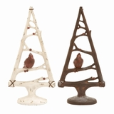 "Set of 2 Triangular Branch Shaped Polystone Xmas Trees w/ Birds Assorted 17""H, 8""W by Woodland Import"