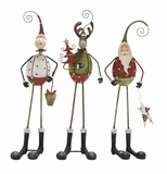 "Set of 3 Christmas Decor Metal Santa, Snowman & Deer Assorted 5""W, 17""H by Woodland Import"