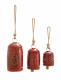 "Set of 3 Festive Metal Rope Bell w/ Jute Rope & Xmas Tree Design - 20"", 16"", 12""H by Woodland Import"