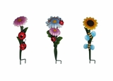 Set of 3 Flower Garden Stakes (Blue Daisy, Pink Daisy, and Yellow Sunflower) by Alpine Corp