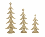 """Set of 3 Glittering Metal Christmas Trees S/3 21"""", 17"""", 12""""H by Woodland Import"""