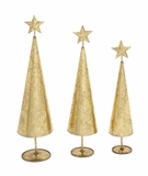 """Set of 3 Metal Christmas Trees w/ Star & Gold Leaf Design S/3 25"""", 22"""", 20""""H by Woodland Import"""