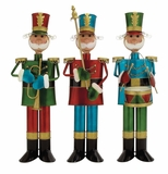 """Set of 3 Metal Foot soldiers Playing Musical Instruments Assorted 31"""", 29"""", 29""""H by Woodland Import"""