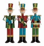 "Set of 3 Metal Foot soldiers Playing Musical Instruments Assorted 31"", 29"", 29""H by Woodland Import"