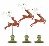 """Set of 3 Metal Santa's Jumping Red Reindeer S/3 26"""", 23"""", 21""""H by Woodland Import"""