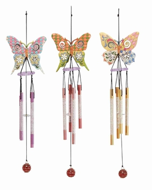 Set of 3 Wind chime Colorful Butterfly Wind chime 16x4 Brand Woodland