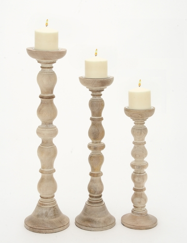 Home Decor Candle and Votive Holders Set of 3 Wood Candle Holders 16 ...