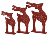 """Set of 3 Wooden Red Reindeer Family S/3 22"""", 20"""", 16""""H by Woodland Import"""